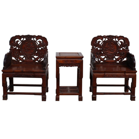Chinese thick carved wood chair set