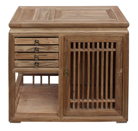 Chinese Raw Wood Open Display Storage Small Cabinet Cs3501S