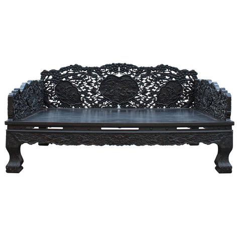 black wood Chinese carved daybed