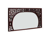 Chinese Reddish Brown Stain Geometric Scenery Carving Wood Frame Wall Mirror cs3513S