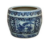 pot - porcelain planter - blue white dragon