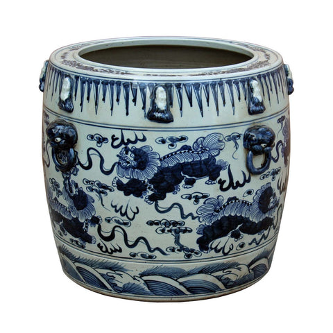 pot - porcelain planter - blue white foo dogs