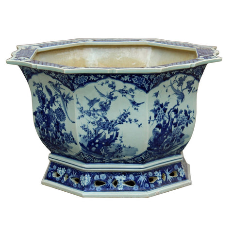 Chinese Canton Octagon Blue & White Porcelain Flower Birds Planter