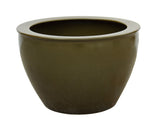 Chinese Ceramic Olive Green Glazed Round Planter Pot  cs3534S