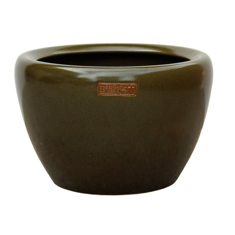 Chinese Ceramic Olive Green Glazed Round Planter Pot