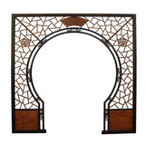 CChinese Two Side Brown Stain Wood Around Arch Wood Room Divider
