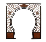 Chinese Two Side Brown Stain Wood Around Arch Wood Room Divider