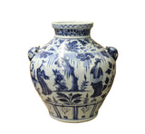 Chinese Blue White Porcelain People Scenery Foo Dog Accent Vase Jar cs3545S