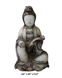 white stone Kwan Yin - Bodhisattva -  goddess of mercy - goddess of compassion