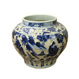 Chinese Blue White Porcelain Dimensional People Scenery Accent Vase Jar cs3550S