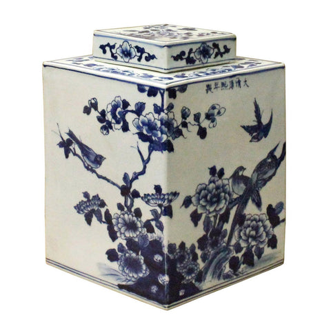 Chinese Blue & White Porcelain Oriental Scenery Rhombus Jar Container cs3553S