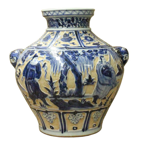 Chinese Blue White Porcelain Dimensional People Scenery Accent Vase Jar cs3555S