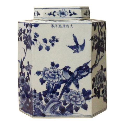 Chinese Blue & White Porcelain Oriental Scenery Hexagon Jar Container cs3557S