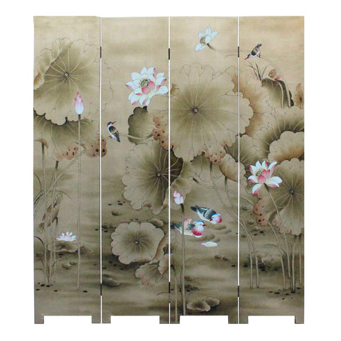 Chinese Golden Oriental Lotus Flower Birds Graphic Screen cs3564S
