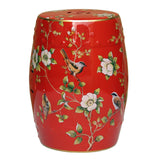 red color bird and flower round stool