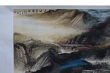 Chinese Color Water Ink Mountain Scenery Horizontal Scroll Painting Wall Art cs3576S