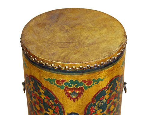 Beautiful ... Distressed Oriental Chinese Tibetan Drum Shape Yellow Floral Coffee Side  Table Cs3581S ...