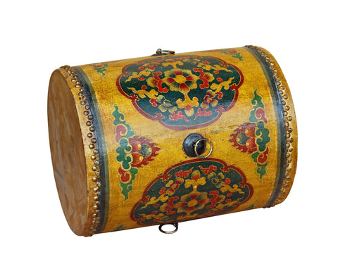 ... Distressed Oriental Chinese Tibetan Drum Shape Yellow Floral Coffee Side  Table Cs3581S ...