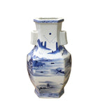 Chinese Blue & White Porcelain Oriental Mountain Scenery Graphic Vase cs3609S