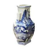 Chinese Blue & White Porcelain Oriental Scenery Graphic Vase cs3611S