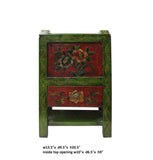 Tibetan Style Handmade Green Red Floral Paint Storage Box Tray cs3619S