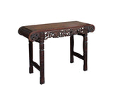 Chinese Brown Huali Rosewood Scroll Foo Dogs Altar Table cs3626S