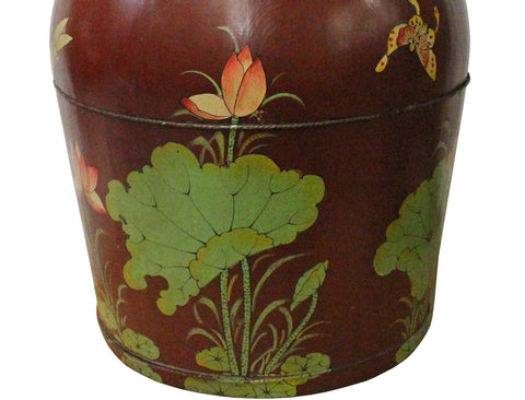 Chinese Red Flower Butterflies Round Large Wood Bucket cs3633S