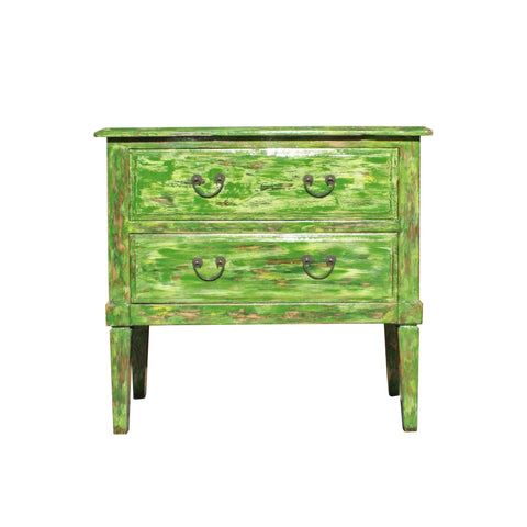 Distressed Light Green Lacquer Two Dresser Console Table Cabinet cs3642S