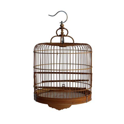 Chinese Oriental Round Shape Bamboo Wood Birdcage Display cs3645S