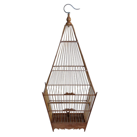 Oriental Tower Shape Bamboo Wood Birdcage