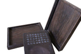 Chinese Rectangular Shape Calligraphy Carving Box with Ink Stone Pad cs3664S