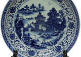 large size blue white scenery painting plate