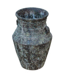 Ceramic Rough Gray Green Rust Dimensional Marks Tall Vase Jar cs3690S