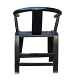 Black Lacquer Oriental Horse Shoe Curve Shape Accent Fusion Chair cs3692S