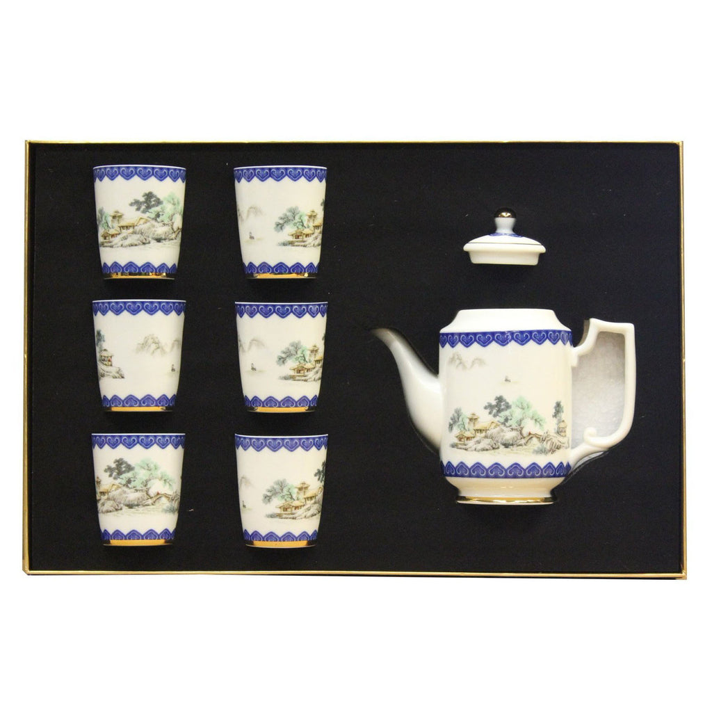 Chinese Porcelain Blue White Flower Drawing Teapot Teacup Serving Set  cs5S