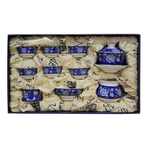 Chinese Porcelain Blue White Flower Drawing Teapot Teacup Serving Set