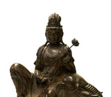 Chinese Handmade Brown Bronze Kwan Yin Riding Elephant Statue cs3742-1S