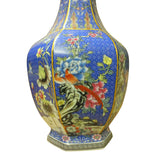 Chinese Bright Blue Hexagon Multi-Color Flower Birds Porcelain Vase cs3781S