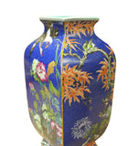 Chinese Bright Blue Square Multi-Color Flower Birds Porcelain Vase cs3782S