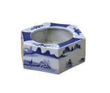 Chinese Blue & White Porcelain Graphic Hexagon Bowl Container cs3792S