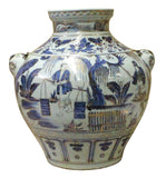 Chinese Blue White Porcelain People Scenery Foo Dog Accent Vase Jar cs3795S