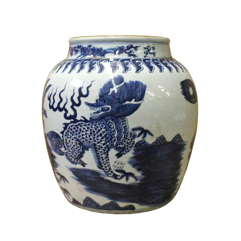 Chinese Blue White Kirin Flower Porcelain Pot Vase cs3796S