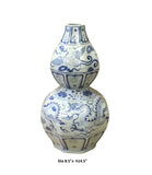 Chinese Blue White Porcelain Octagon Gourd Shape Vase cs3801S