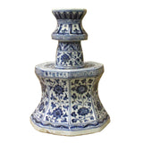 Blue & White Porcelain Octagon Lotus Flower Candle Holder