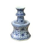 Chinese Blue & White Porcelain Octagon Lotus Flower Candle Holder cs3802S