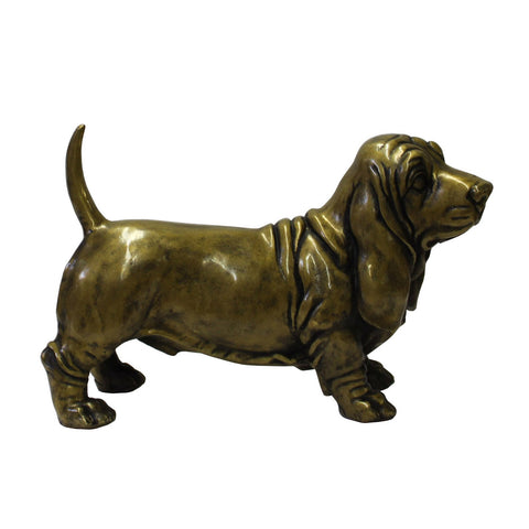 Chinese Fine Bronze Metal Artistic Dog Basset Hound Figure cs3818S