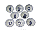 Chinese Blue White Round Porcelain 8 Immortal Theme Display Plate Set cs3838S