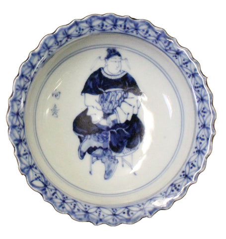 Chinese Blue White Round Porcelain Graphic Theme Display Plate cs3839-3S