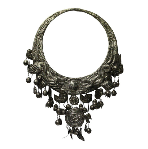Chinese Miao Tribe Silver Color Nickel Necklace Wall Decor Accent