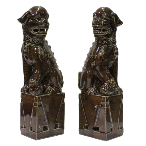 ceramic pair foo dog statue